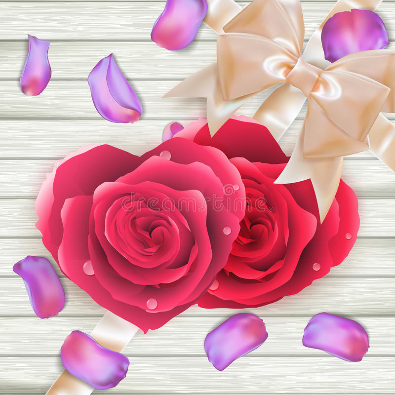 Couple Hearts of red roses on wood. EPS 10 stock illustration