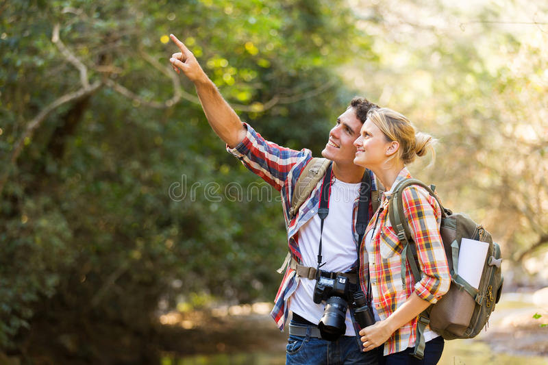 Couple hikers mountain stock photography