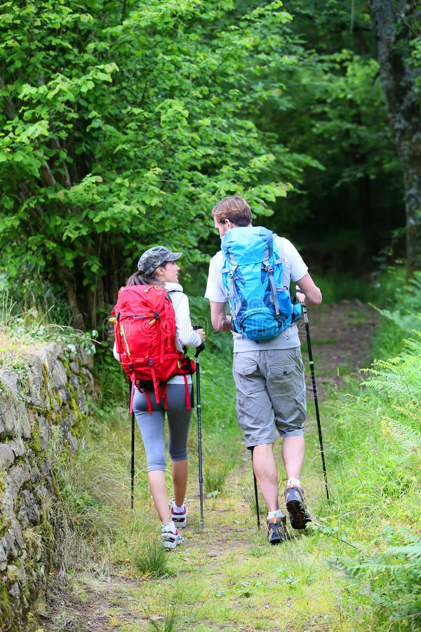 Couple of hikers walking in forest path stock image