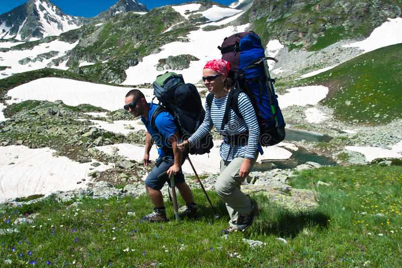 Download Couple hiking. stock image. Image of peak, action, relax - 16147607