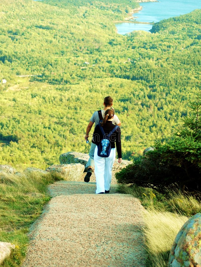 Download Couple Hiking At Acadia stock image. Image of black, attraction - 656835