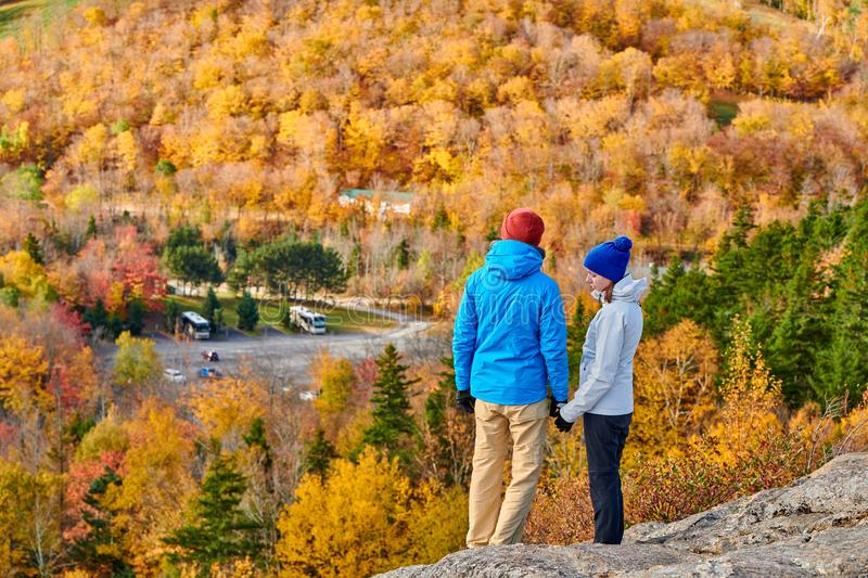Couple hiking at Artist`s Bluff in autumn royalty free stock photography