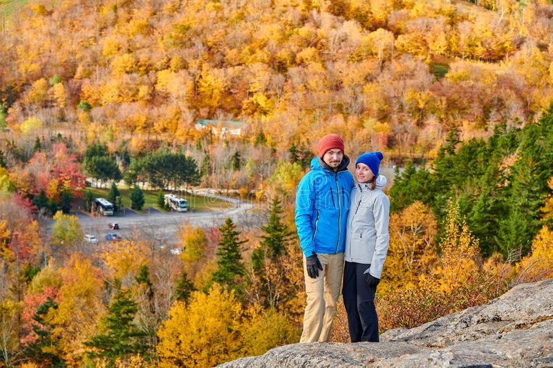 Couple hiking at Artist`s Bluff in autumn royalty free stock photos