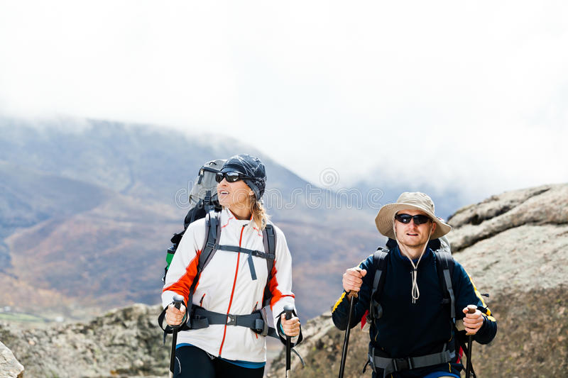 Couple Hiking In Mountains Stock Image