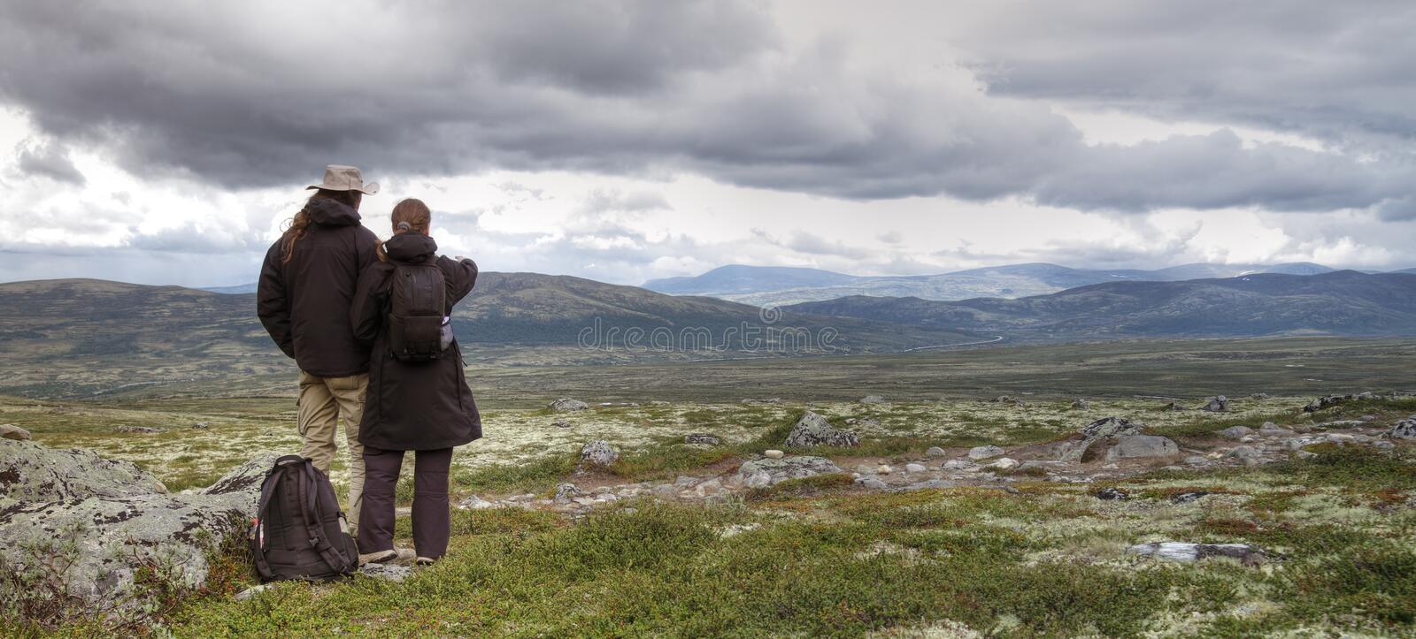 Download Couple hiking in Norway stock image. Image of background - 20935255