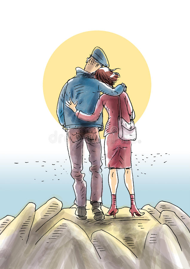 Download Couple on the hill stock illustration. Image of partner - 23761669