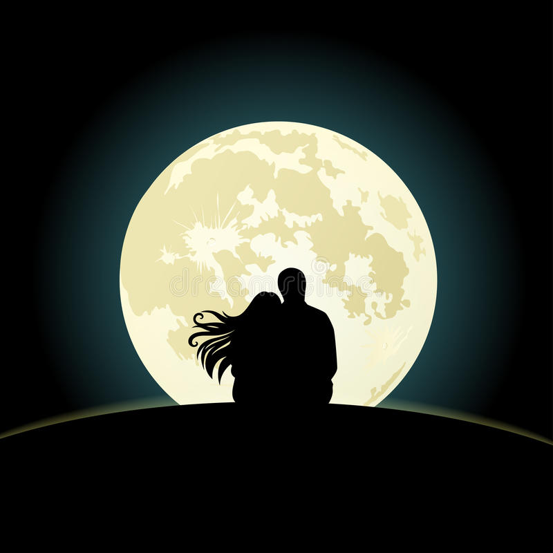Couple on a hill sitting under the moonlight royalty free illustration
