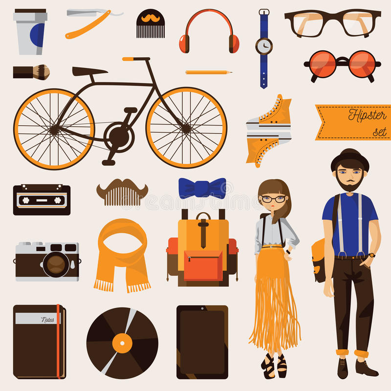 Couple of hipster young girl and beard man with lots of trendy accessories like bike, vinyl record, notebook, clothes and eyeglass stock illustration