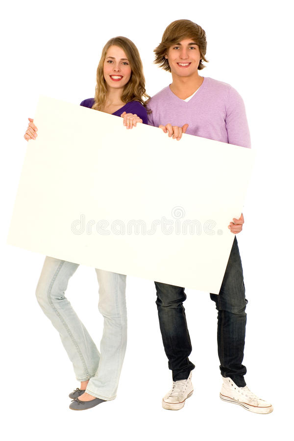Couple holding blank sign stock photography