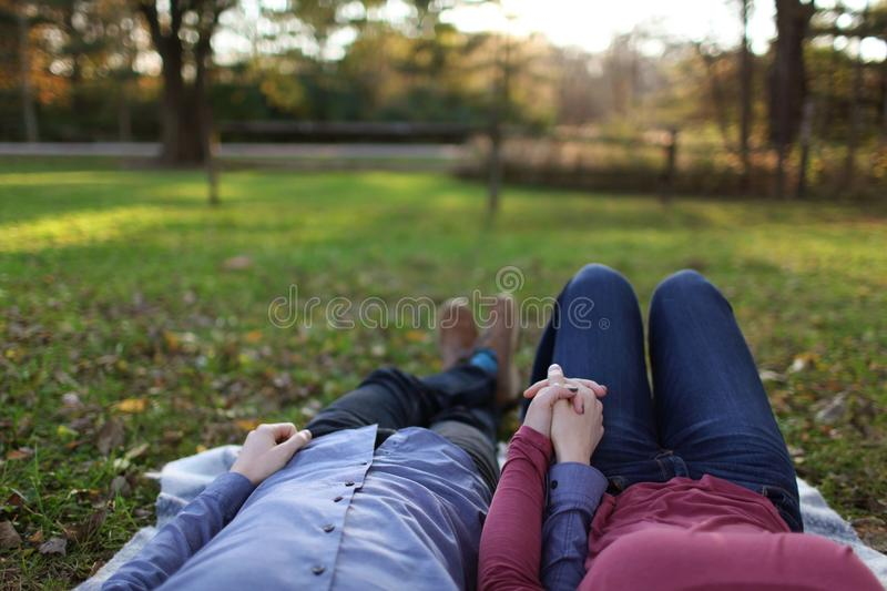 Couple While Holding Hands royalty free stock photos