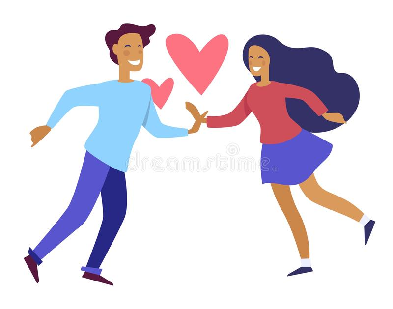 Couple holding hands of each other people in love. Vector. Pair of man and woman with symbol of deep feelings male and female touching one another. Passion royalty free illustration