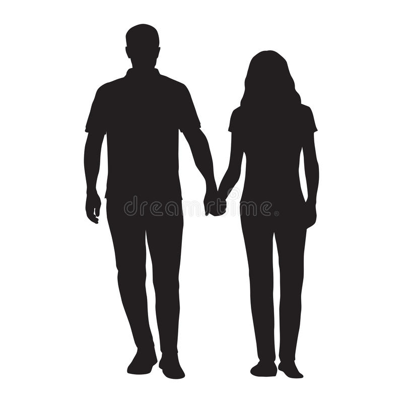 Couple holding hands, man and woman dating vector illustration