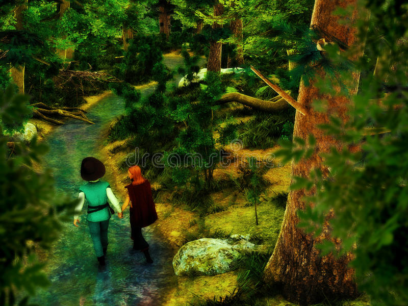 Couple Holding Hands Walking In The Forest stock photo