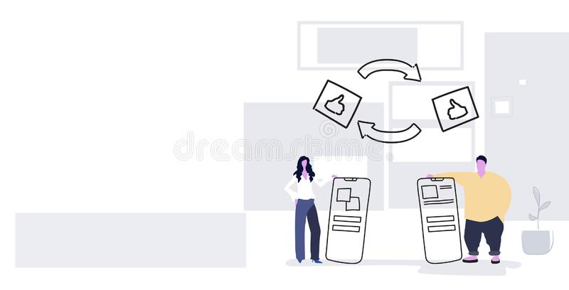 Couple holding smartphones thumbs up transfer man woman using mobile app social media communication data sharing concept. Sketch full length horizontal vector stock illustration