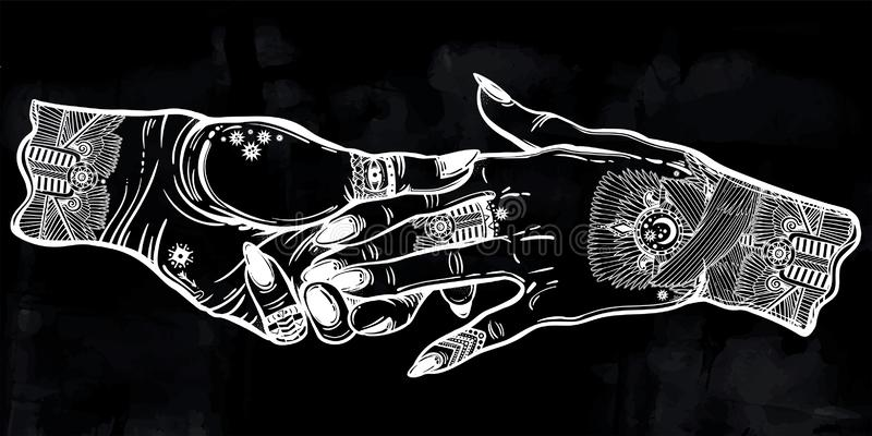Couple holds tattooed hands, witchraft, magic and spiritual romance. royalty free illustration