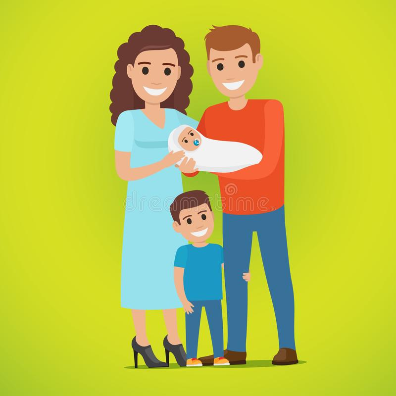 Couple Holds Newborn and Small Boy Standing near. Young married smiling couple holds newborn in white clothing and hilarious little boy stands near, hugging royalty free illustration
