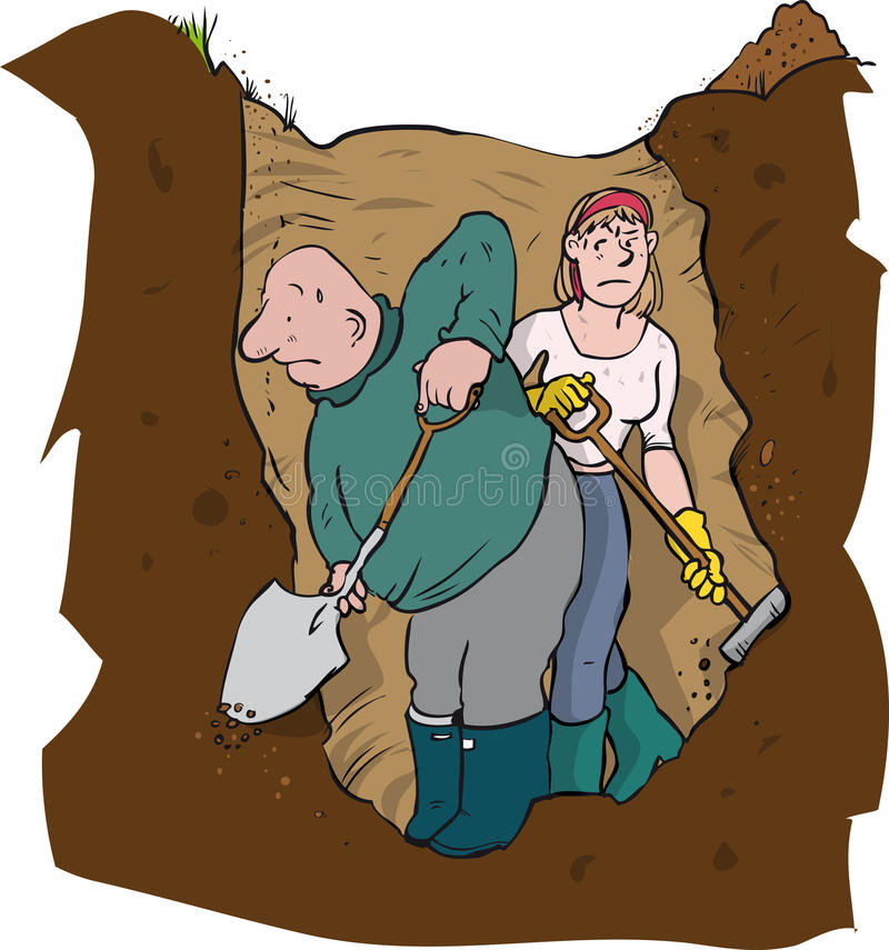 Couple hole digging. Man and woman digging a hole stock illustration