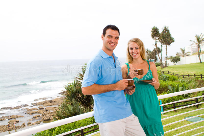 Couple on holiday stock images