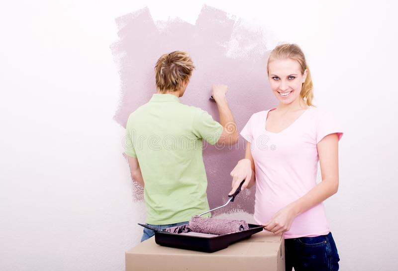 Couple home improvement royalty free stock photo