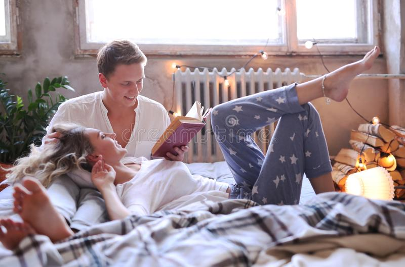 Couple at home. Lifestyle. Lovely couple at home stock photos