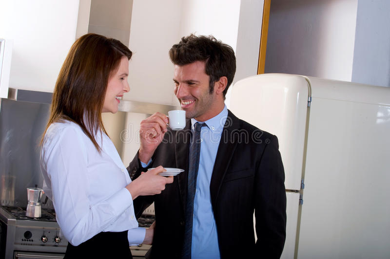 Couple at home man drinking coffee royalty free stock photo
