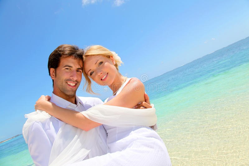 Couple in honeymoon stock image