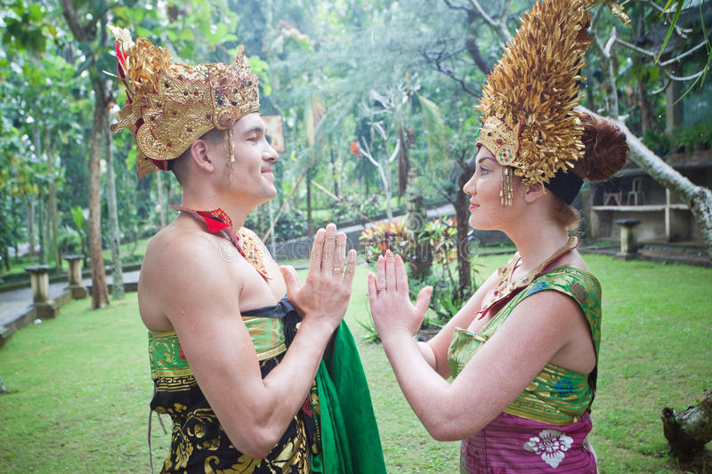 Couple at honeymoon in Balinese tradition. And ceremony royalty free stock photo