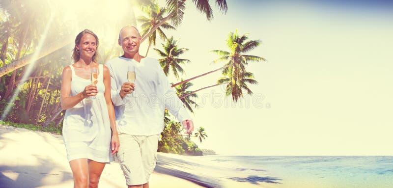 Couple Honeymoon Tropical Beach Romantic Concept.  stock photo