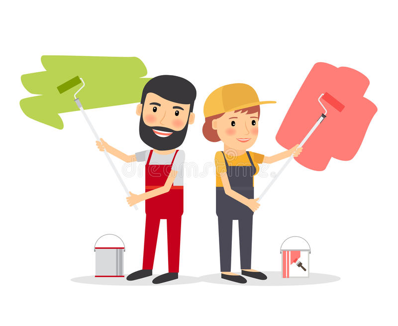 Couple of house painter workers vector illustration