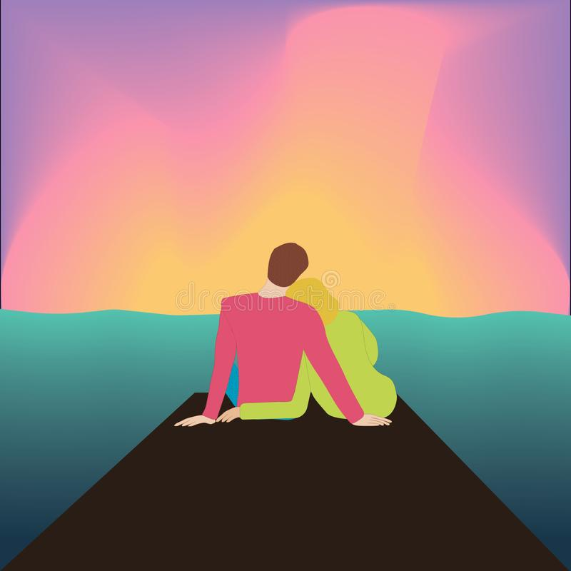 Couple hugging back sitting on pier and watching sunset. vector illustration