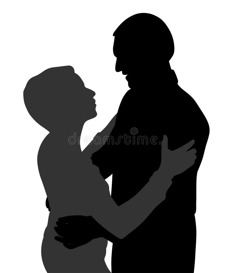 Couple hugging dancing and talking. Illustration of a couple hugging dancing and talking. Isolated white background. EPS file available royalty free illustration