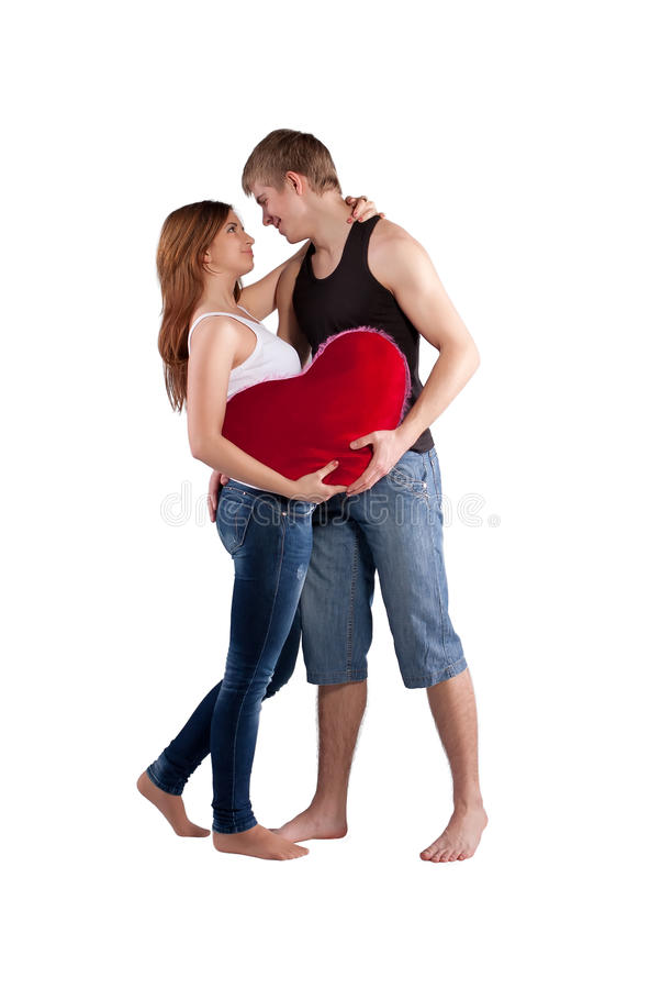 Free Couple Hugging With A Red Heart Royalty Free Stock Images - 23091899