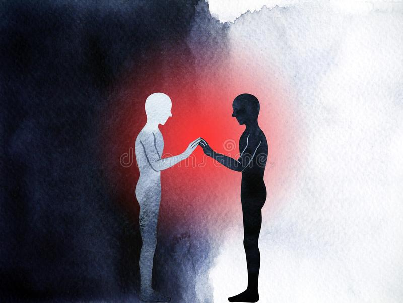 Couple human standing connection hand up pose, abstract body stock illustration