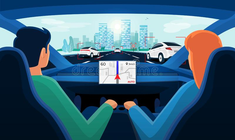 Couple inside autonomous car interior on highway traffic jam with day city skyline royalty free illustration
