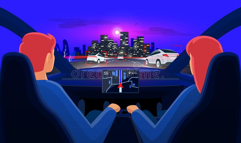 Couple inside autonomous car interior on highway traffic jam with night city skyline. Couple in self-driving autonomous smart driverless electric car on highway vector illustration