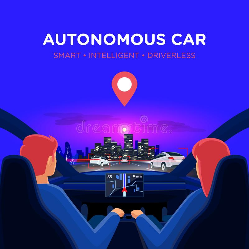 Couple inside autonomous car interior on highway traffic jam with night city skyline. Couple in self-driving autonomous smart driverless electric car on highway royalty free illustration