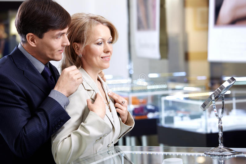Download Couple in jeweller shop stock image. Image of market - 13422129
