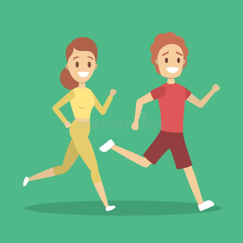 Couple of jogger run together. Sport training. And exercise for health. Idea of active lifestyle. Flat vector illustration vector illustration