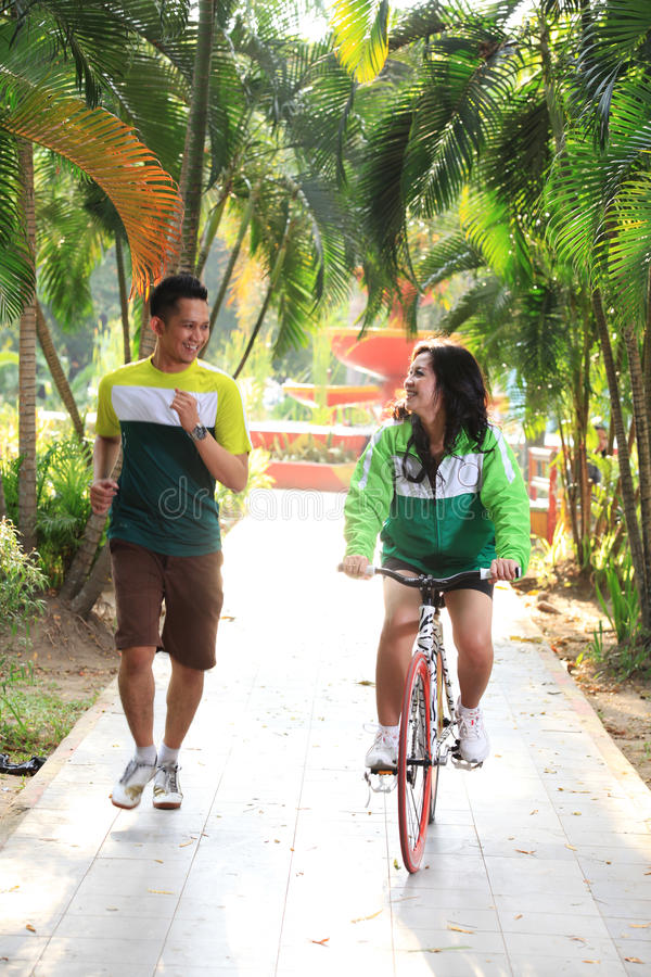Download Couple jogging at park stock photo. Image of peoples - 27370366