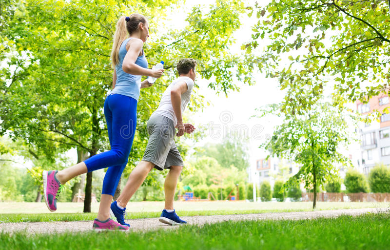 Couple jogging stock photo