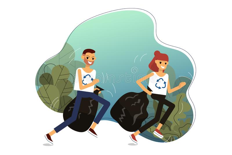 Couple is jogging in the woods picking up litter. Trendy sport plogging which helps to save environment stock illustration