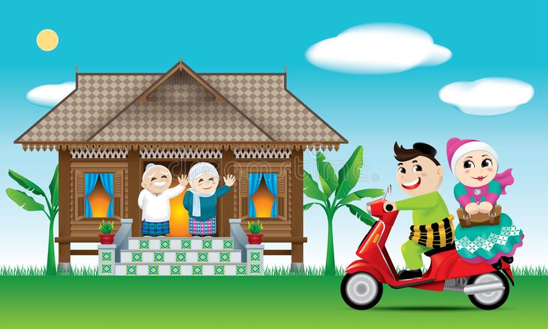 A couple is just arrive their home town, ready to celebrate Raya festival with their parents. With village scene. Vector for Hari Raya Puasa or Aidilfitri stock illustration