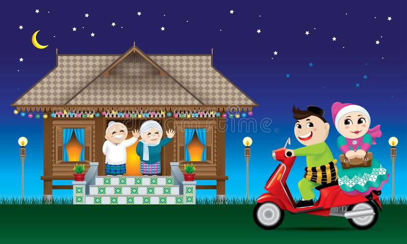 A couple is just arrive their home town, ready to celebrate Raya festival with their parents. With village scene. Vector for Hari Raya Puasa or Aidilfitri. The royalty free illustration