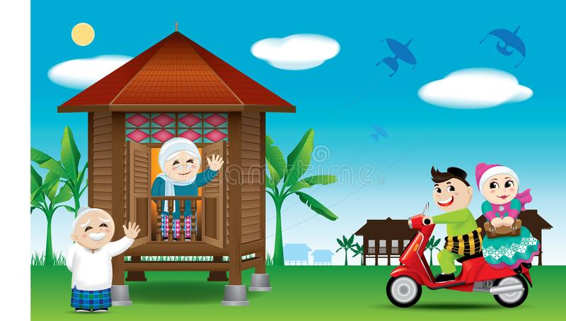 A couple is just arrive their home town, ready to celebrate Raya festival with their parents. With village scene. Vector for Hari Raya Puasa or Aidilfitri vector illustration