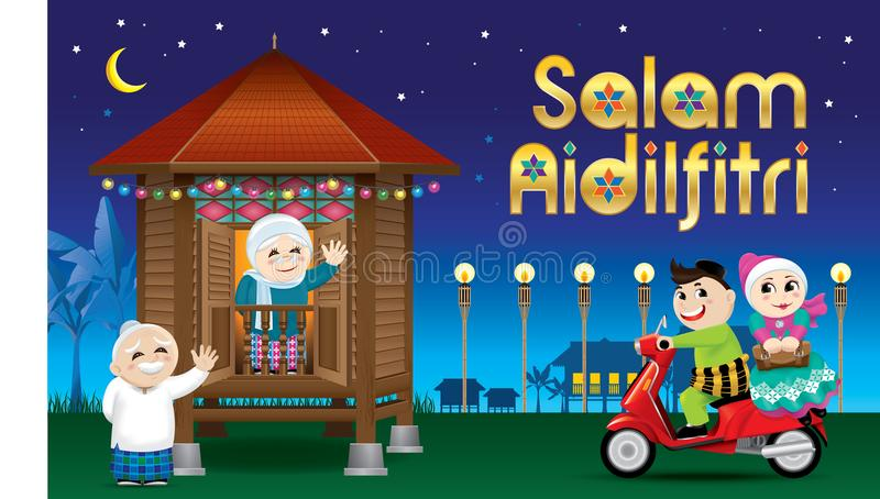 A couple is just arrive their home town, ready to celebrate Raya festival with their parents. With village scene. Vector for Hari Raya Puasa or Aidilfitri. The stock illustration