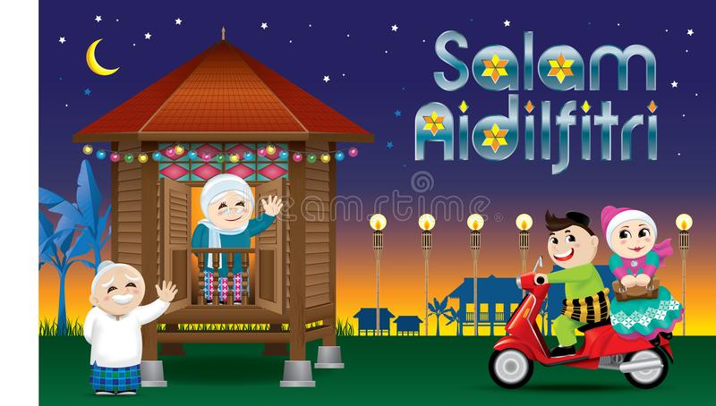 A couple is just arrive their home town, ready to celebrate Raya festival with their parents. With village scene. Vector for Hari Raya Puasa or Aidilfitri. The vector illustration