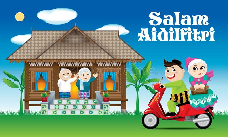 A couple is just arrive their home town, ready to celebrate Raya festival with their parents. With village scene. royalty free illustration