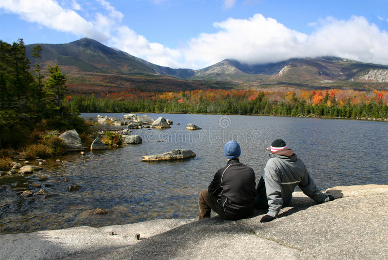 Download Couple at Katahdin stock photo. Image of pond, courage - 1349426