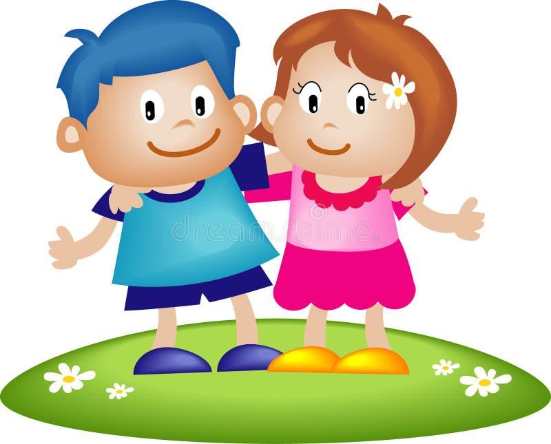 Couple of kids stock illustration