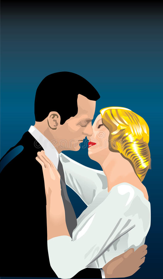 Couple kissing. Retro style illustration of a couple kissing stock illustration